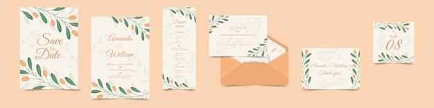 Variedade de artigos de papelaria floral do casamento