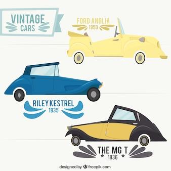 Variedade de automóveis retro à moda