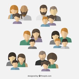 Variedade de avatares família