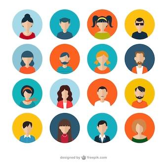 Variedade de avatares humanos