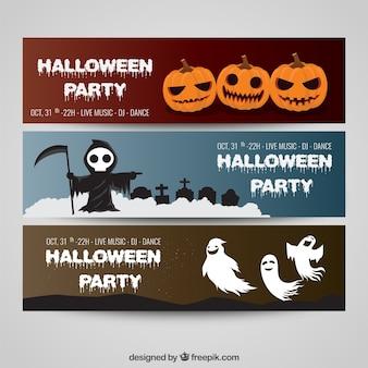 Variedade de bandeiras de halloween
