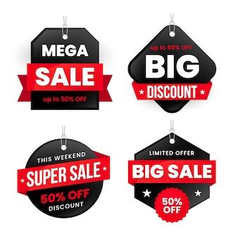Variedade de banners coloridos de vendas