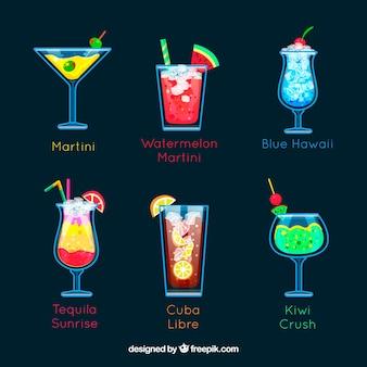 Variedade de bebidas de verão coloridas