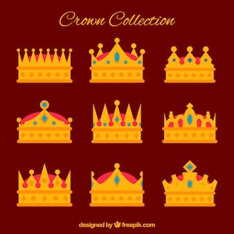 Variedade de belas coroas com pedras preciosas