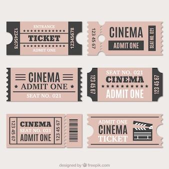 Variedade de bilhetes de cinema no estilo do vintage