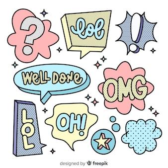 Variedade de bolhas de bate-papo pop-up com mensagens