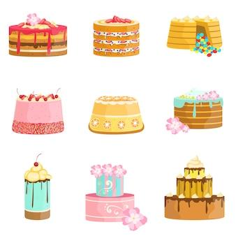 Variedade de bolos em camadas de festa doce