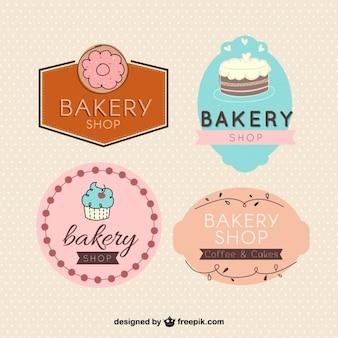 Variedade de bonito emblemas de padaria