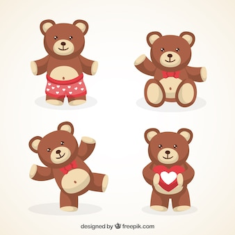 Variedade de bonito ursos de pelúcia