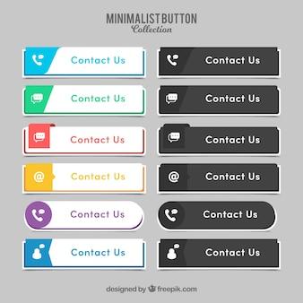 Variedade de botões de contacto elegantes
