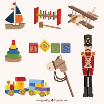 Variedade de brinquedos de madeira antigos