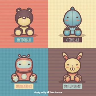 Variedade de brinquedos fluffly