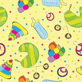 Variedade de brinquedos infantis - ilustração vetorial perfeita