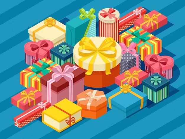Variedade de caixas de presentes isométricas