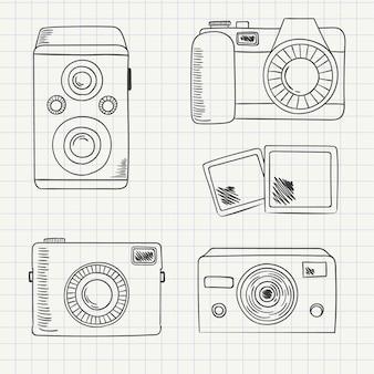 Variedade de câmeras de mão desenhada