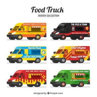 Variedade de caminhões de alimentos modernos