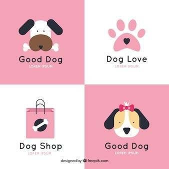 Variedade de cão logos com elementos rosa