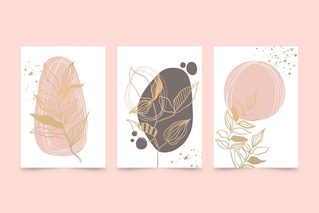 Variedade de capas botânicas de ouro