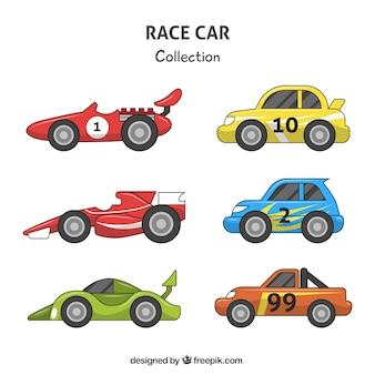 Variedade de carros de corrida coloridos