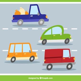 Variedade de carros na estrada