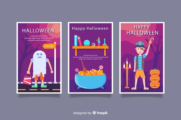 Variedade de cartões de feliz dia das bruxas plana
