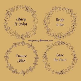 Variedade de casamento floral quadros no estilo retro