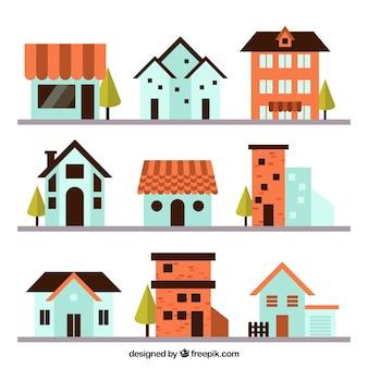 Variedade de casas agradáveis no design plano