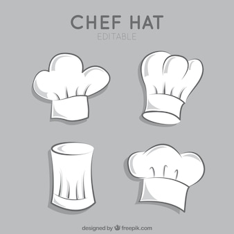 Variedade de chapéus de chef