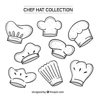 Variedade de chapéus desenhados mão do cozinheiro chefe