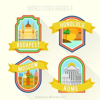 Variedade de cidades do mundo emblemas