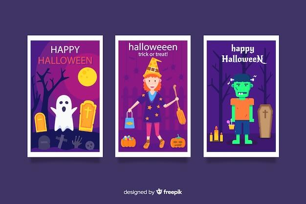 Variedade de coleção de cartão de dia das bruxas plana