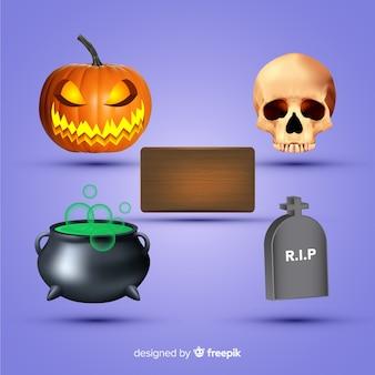 Variedade de coleção de elemento realista de halloween