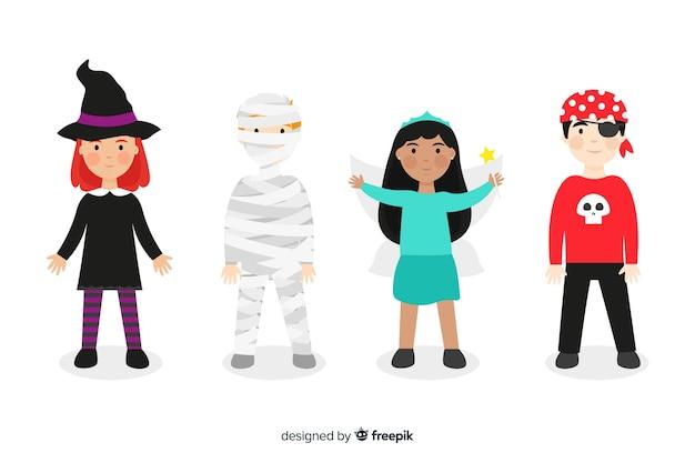 Variedade de coleção de garoto de halloween plana