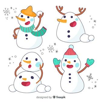 Variedade de coleção de posturas de boneco de neve