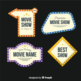 Variedade de coleção de sinal de teatro plana
