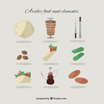 Variedade de comida árabe plano e elementos