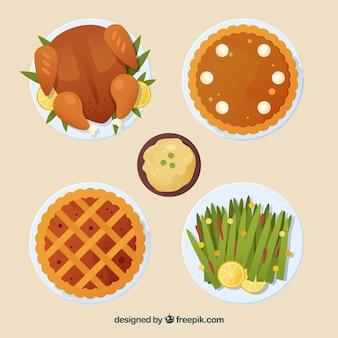 Variedade de comida de ação de graças
