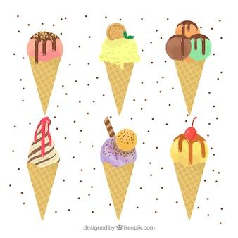 Variedade de cones de sorvete planos