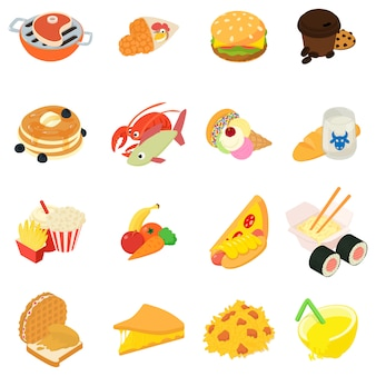 Variedade de conjunto de ícones de comida
