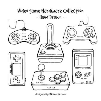 Variedade de consoles e controles desenhados à mão