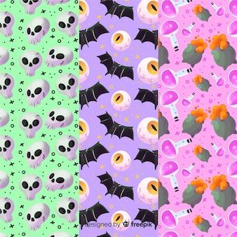 Variedade de cores de fundo para coleção de padrão de halloween