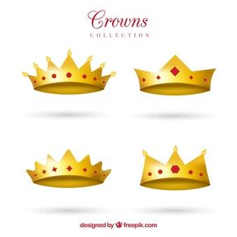 Variedade de coroas realistas com gemas vermelhas