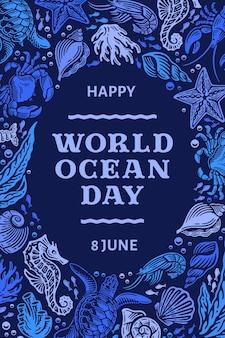 Variedade de criaturas marinhas rabiscadas desenhadas à mão no dia mundial do oceano Vetor Premium