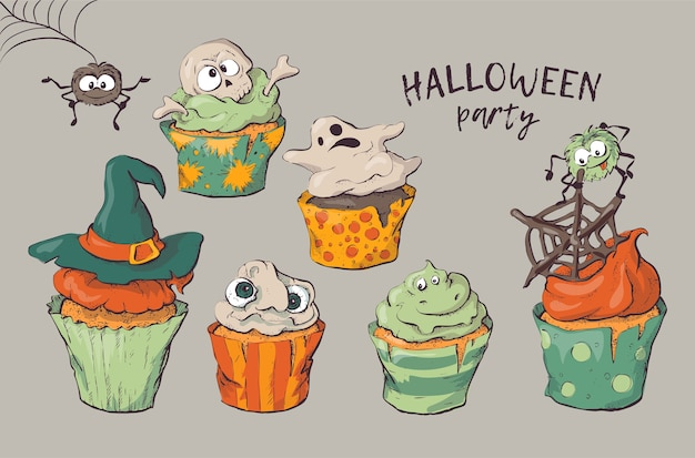 Variedade de cupcakes de halloween isolado