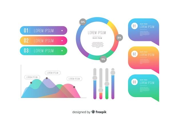 Variedade de dados estatísticos em infográficos gradientes