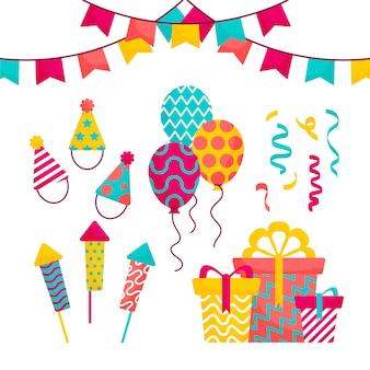 Variedade de decoração de aniversário