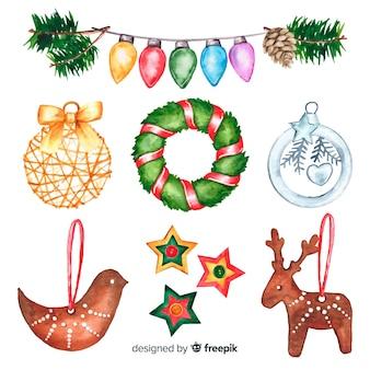 Variedade de decoração de natal em aquarela
