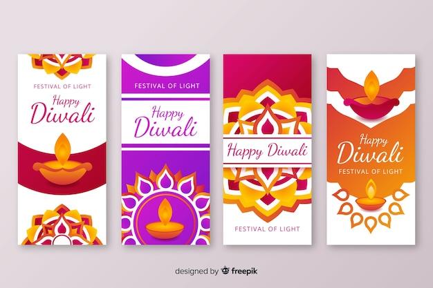 Variedade de designs para diwali instagram stories