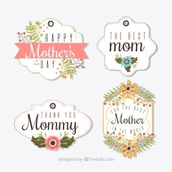 Variedade de dia das mães etiquetas com flores bonitas