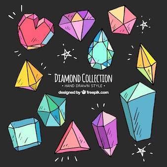Variedade de diamantes desenhados à mão